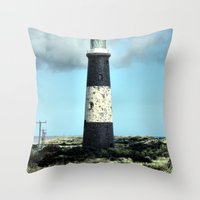 Spurn Point Lighthouse Throw Pillow