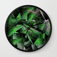 Green Triangles Wall Clock