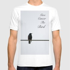 Give Cancer the Bird 2 White SMALL Mens Fitted Tee