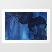 jellyfish Art Prints featuring Jellyfish by Dana Martin