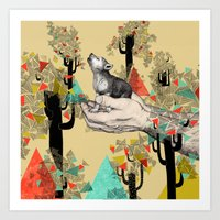 wolf Art Prints featuring Found You There  by Sandra Dieckmann