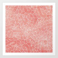 Peach echo and white swirls zentangles Art Print