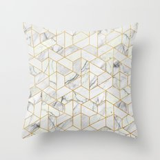 Marble hexagonal pattern Throw Pillow