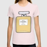Paris Perfume No. 5 Womens Fitted Tee Light Pink SMALL
