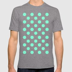Polka Dots (Aquamarine/White) Mens Fitted Tee Tri-Grey SMALL
