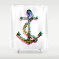 CMYK Anchor Shower Curtain