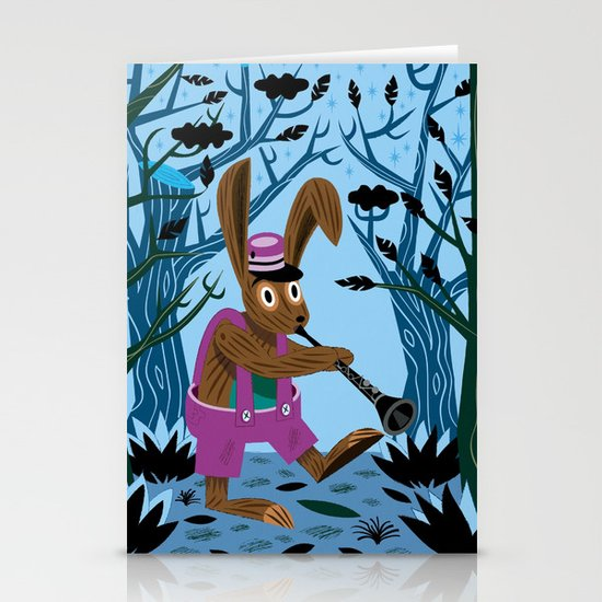 The Clarinet Bunny Stationery Card