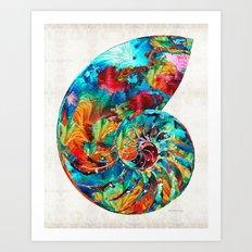 Colorful Nautilus Shell by Sharon Cummings Art Print