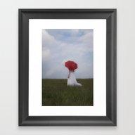 Bride With Red Umbrella Framed Art Print