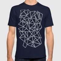 Abstract Outline Thick White on Grey Mens Fitted Tee Navy SMALL