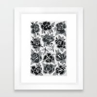 Dozen Roses - Black And … Framed Art Print