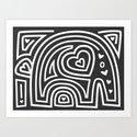 Mola Elephant (Black and White) Art Print
