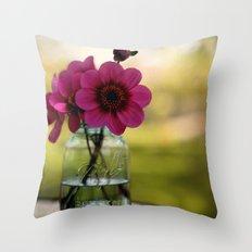 Dahlias In A Blue Jar Throw Pillow