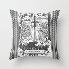 Legend of Zelda Master Sword Vintage Tarot Scene Throw Pillow