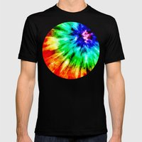Tie Dye Meets Watercolor Mens Fitted Tee Black SMALL