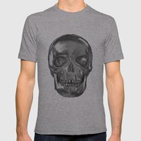 grungy skull Mens Fitted Tee Athletic Grey SMALL