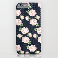 Blue and Pink Vintage Rose Pattern iPhone 6 Slim Case
