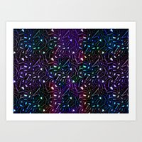Midnight Rainbow Glitter Art Print