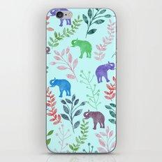 Watercolor Flowers & Elephants II iPhone & iPod Skin