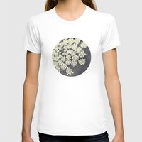 flower T-shirts featuring Black and White Queen Annes Lace by Erin Johnson