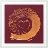 Fall Fox (Maroon) Art Print
