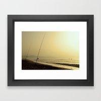 Golden fishing Framed Art Print
