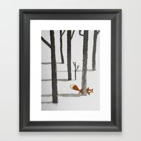 The Fox In The Snow Framed Art Print