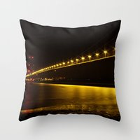 River of Gold- Humber Bridge Throw Pillow