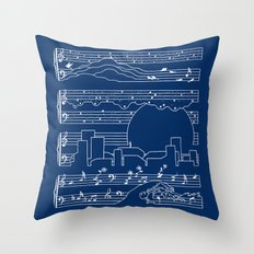 The Moonlight Sonata Blue Throw Pillow