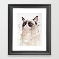 Grumpy Watercolor Cat II Framed Art Print