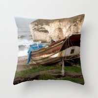 Boats at Thornwick Bay Throw Pillow
