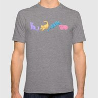Playful Kittens Pattern Mens Fitted Tee Tri-Grey SMALL