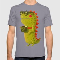 Dino Touristo (olive) Mens Fitted Tee Slate SMALL