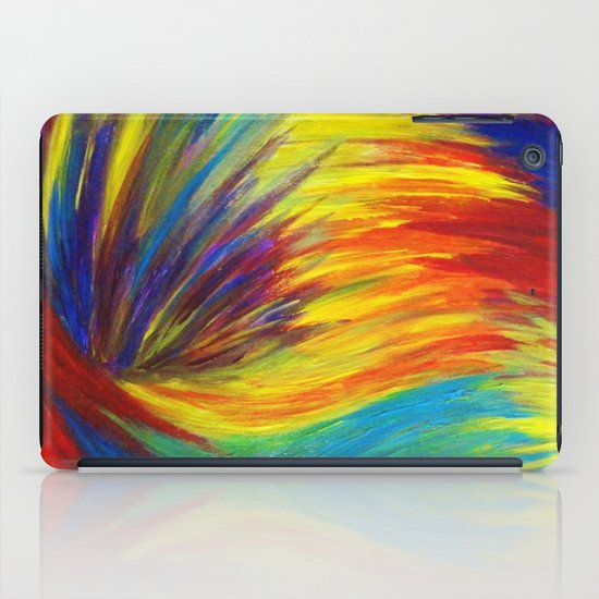 RAINBOW EXPLOSION - Vibrant Smile Happy Colorful Red Bright Blue Sunshine Yellow Abstract Painting  iPad Case