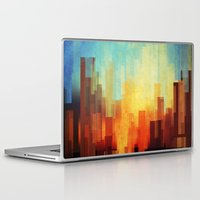 city Laptop & iPad Skins featuring Urban sunset by SensualPatterns