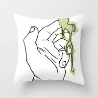 A Hand with Snot Throw Pillow