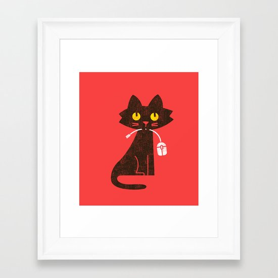 Fitz - Hungry hungry cat (and unfortunate mouse) Framed Art Print