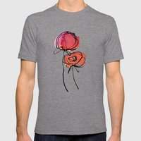 Red Ranunculus Mens Fitted Tee Tri-Grey SMALL