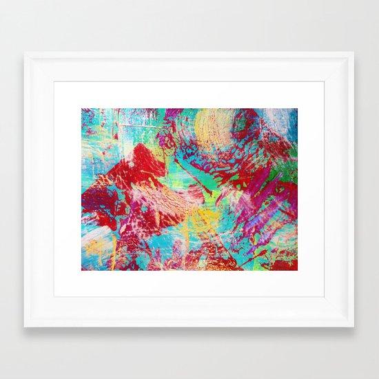 REEF STORM - Fun Bright BOLD Playful Rainbow Colors Underwater Ocean Reef Theme Coral Aquatic Life Framed Art Print