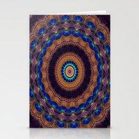 Peacock Pinwheel Stationery Cards