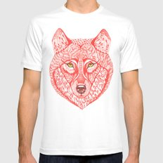 Red wolf Mens Fitted Tee White SMALL