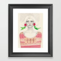 Two Red Flowers Framed Art Print