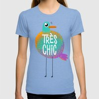 Très Chic Womens Fitted Tee Tri-Blue SMALL