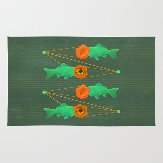 fishes and flowers color option Area & Throw Rug