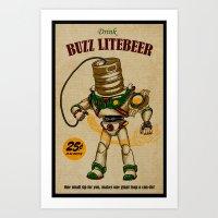 Buzz Lite-Beer Ad Art Print