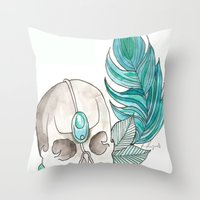 Skull Feather Throw Pillow