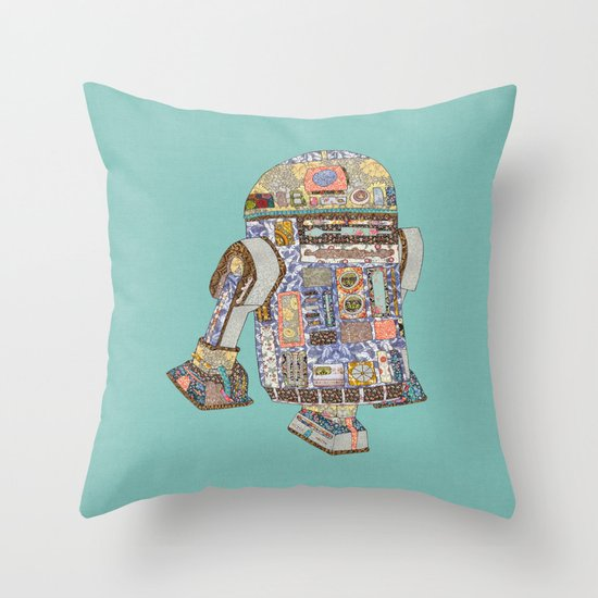 R2D2 crashed into a flower shop Throw Pillow