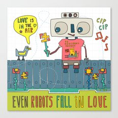Even robots fall in love Canvas Print