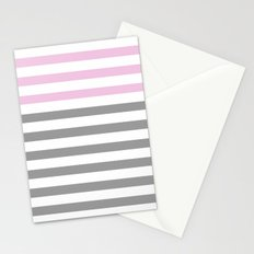 GRAY & PINK STRIPES Stationery Cards
