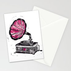 Linocut Gramophone Stationery Cards